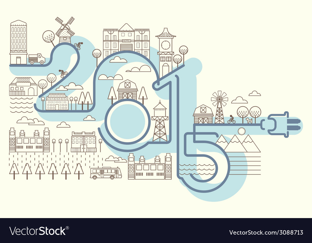 Happy new years building card infographics style vector | Price: 1 Credit (USD $1)