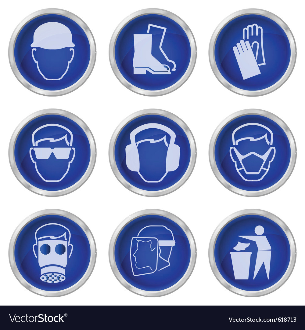Health and safety buttons vector | Price: 1 Credit (USD $1)