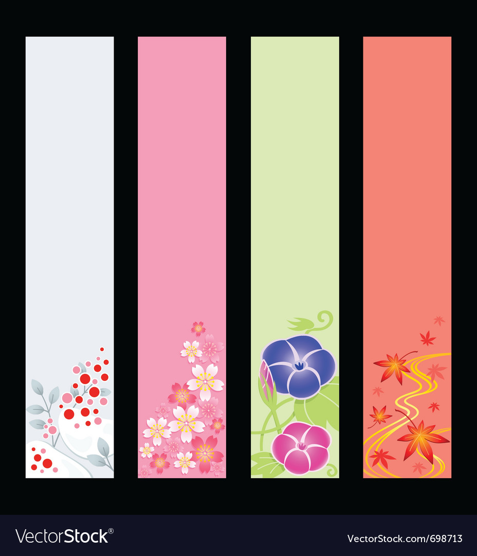Japanese season banners vector | Price: 1 Credit (USD $1)