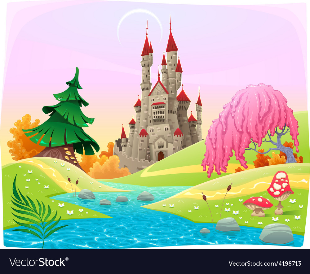 Mythological landscape with medieval castle vector | Price: 3 Credit (USD $3)