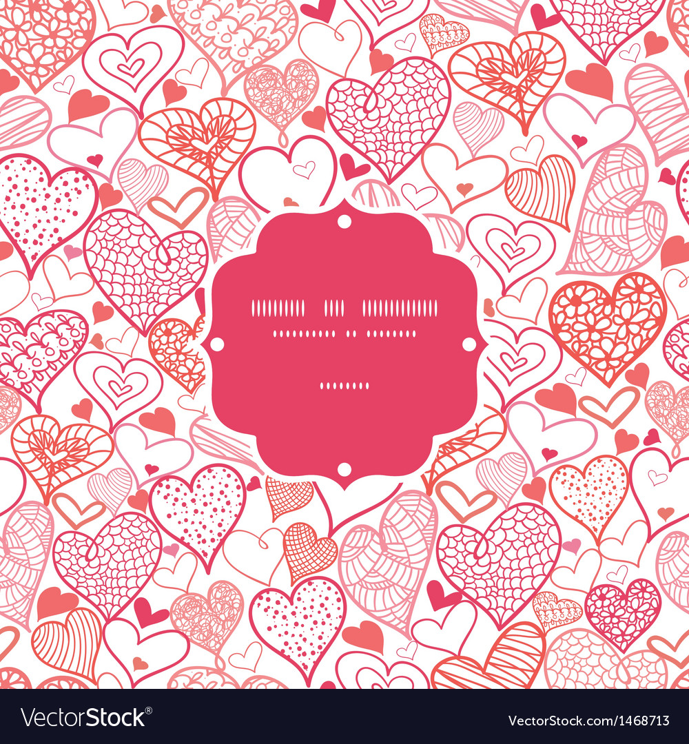 Romantic doodle hearts frame seamless pattern vector | Price: 1 Credit (USD $1)