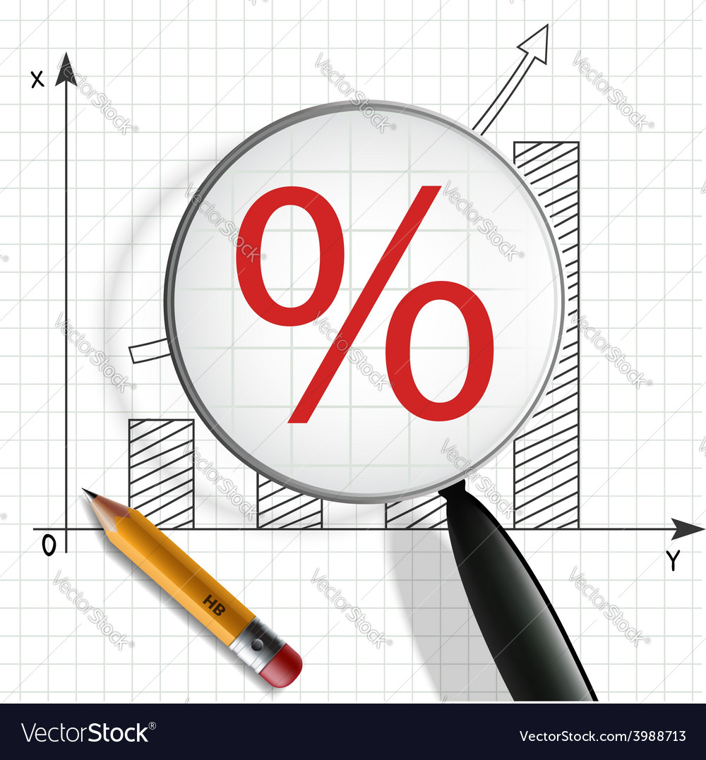 Schedule profit growth pencil and magnifying glass vector | Price: 1 Credit (USD $1)