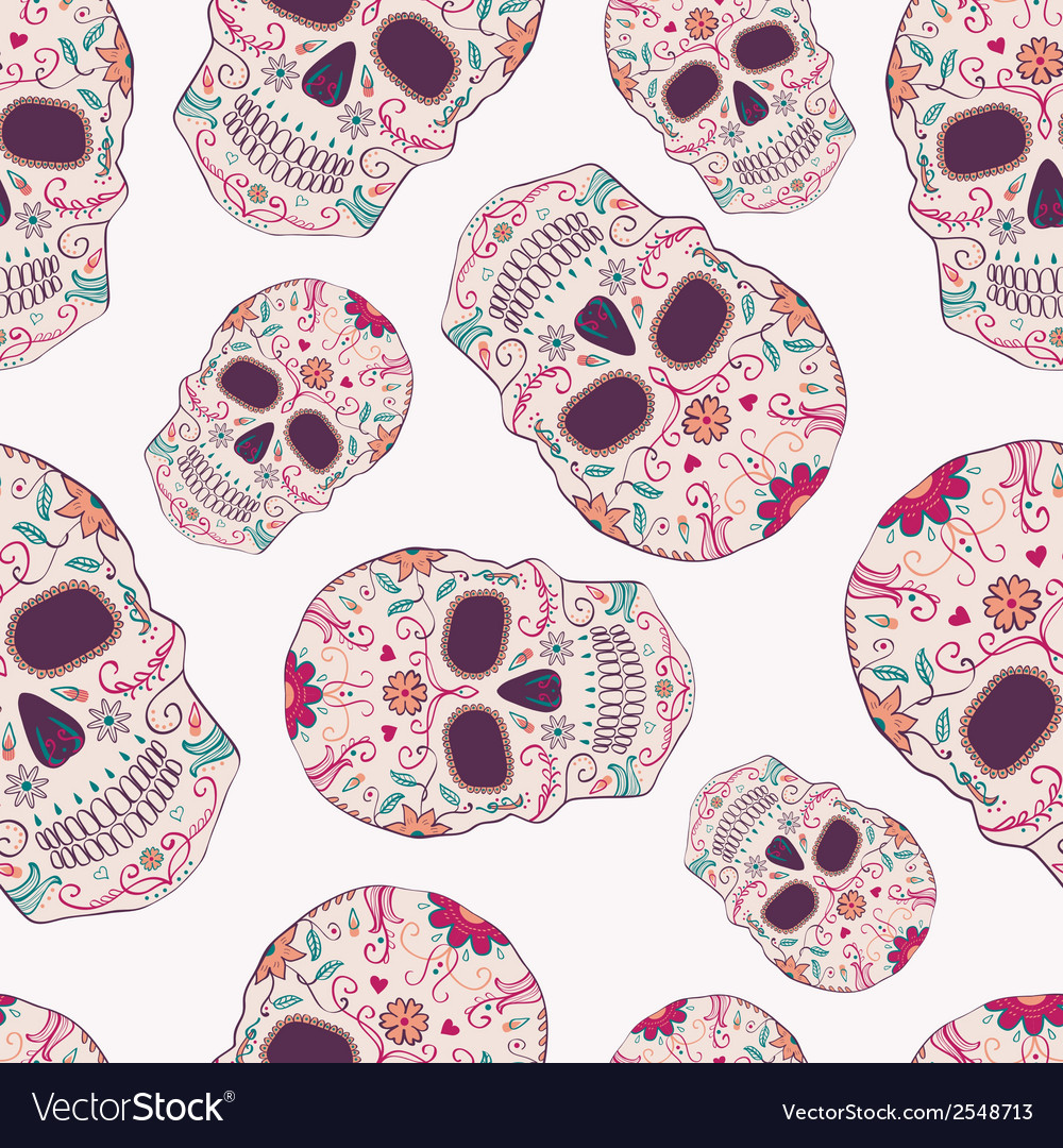 Seamless pattern with day of the dead skulls vector   Price: 1 Credit (USD $1)