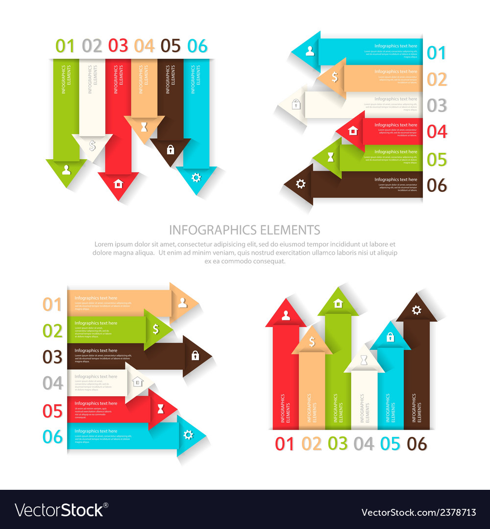 Set of design elements six options for infographic vector   Price: 1 Credit (USD $1)