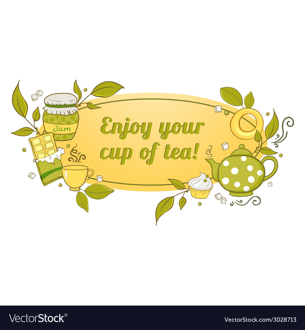 Tea and sweets label vector   Price: 1 Credit (USD $1)