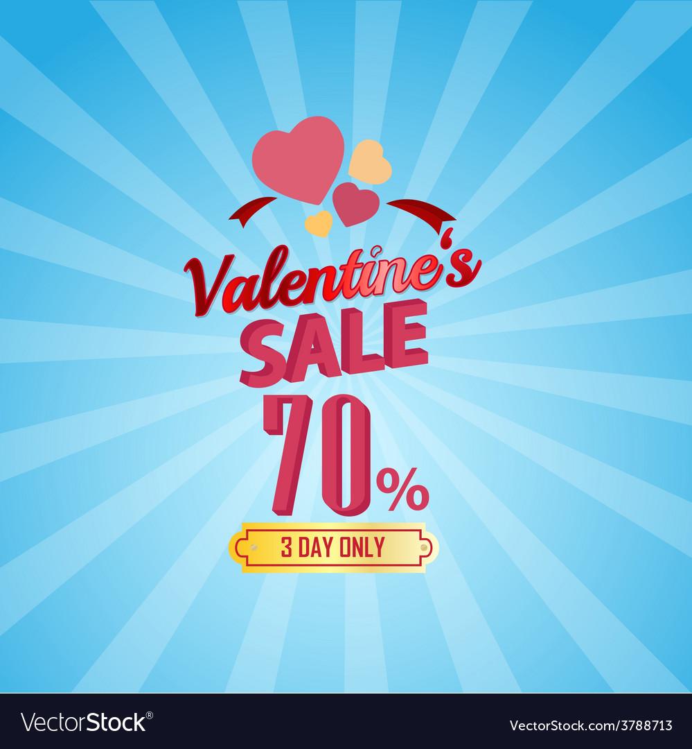 Valentines day sale 70 percent typographic vector | Price: 1 Credit (USD $1)