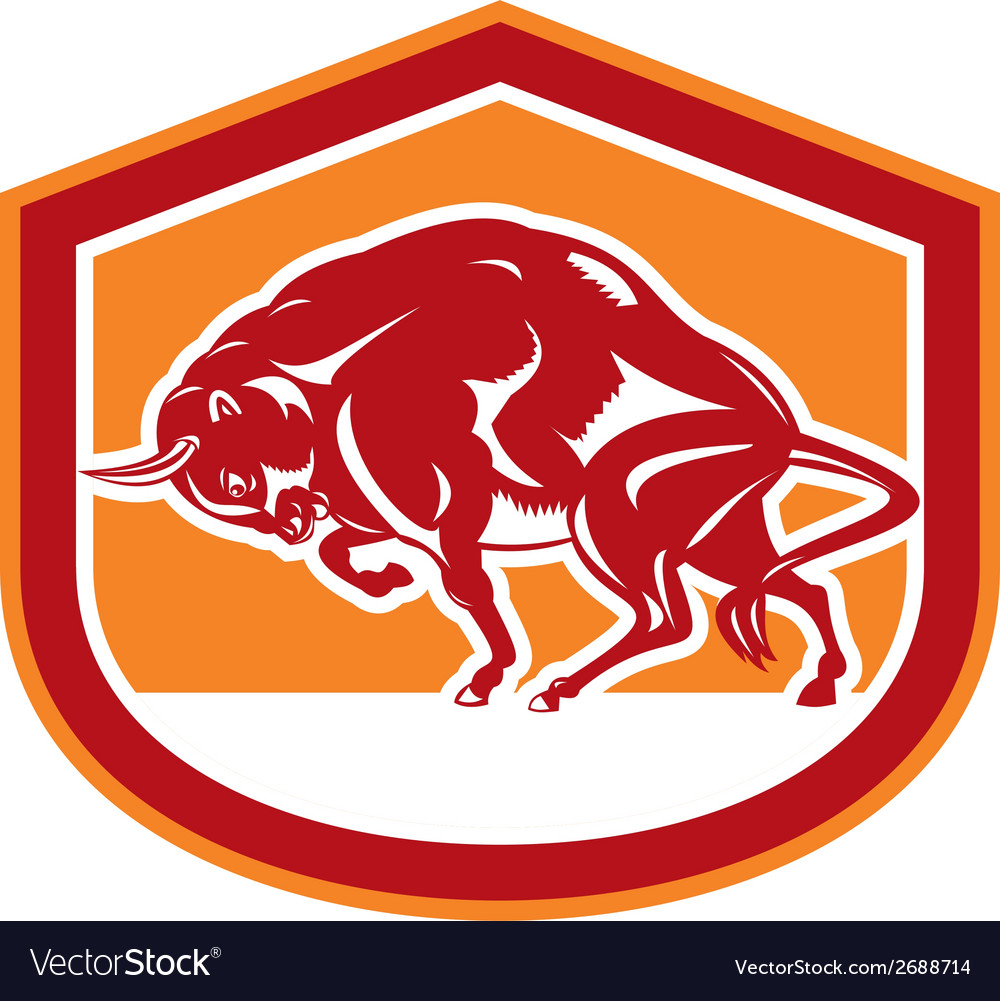European bison charging shield retro vector | Price: 1 Credit (USD $1)