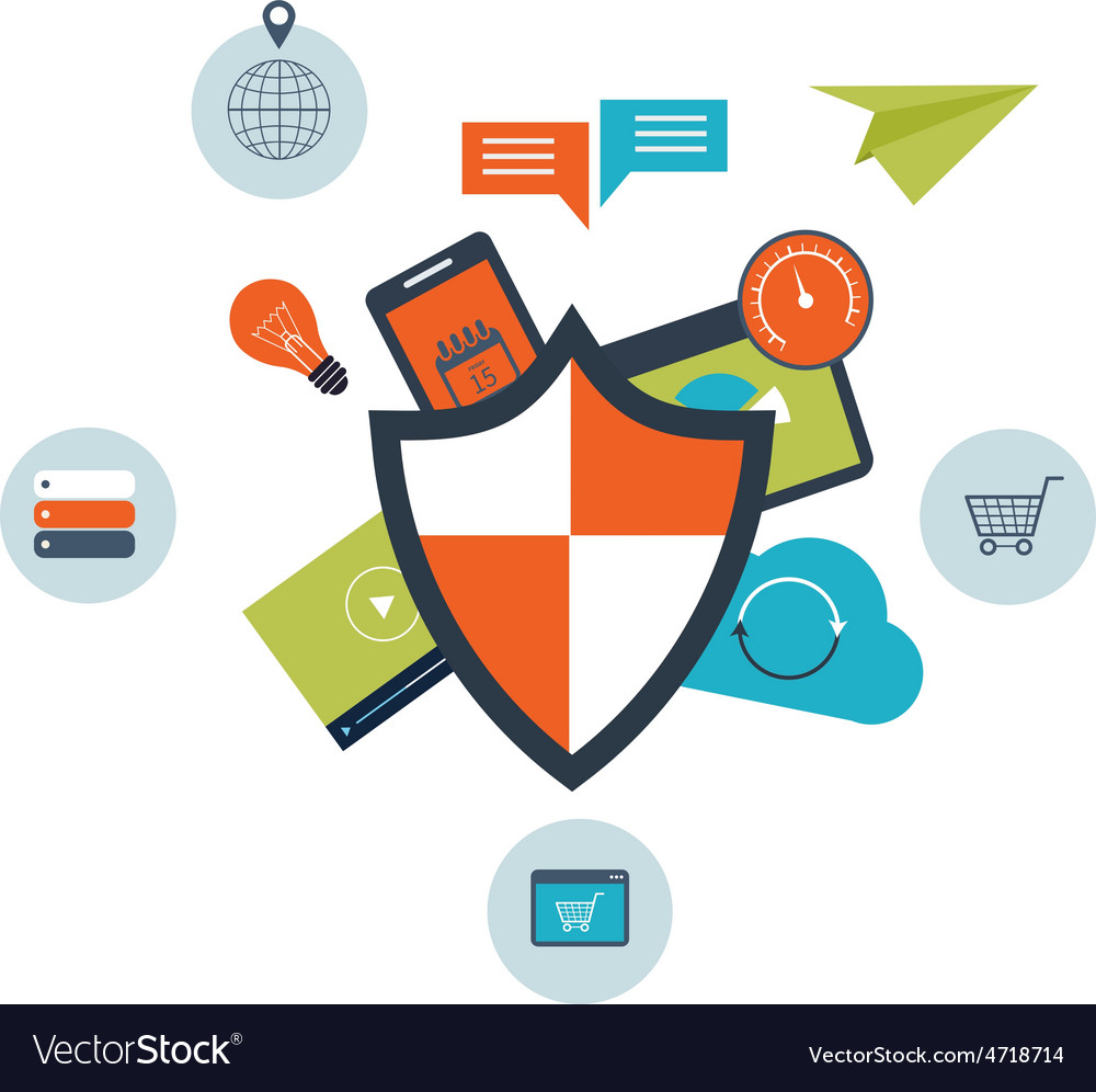 Flat shield icon data protection concept vector   Price: 1 Credit (USD $1)