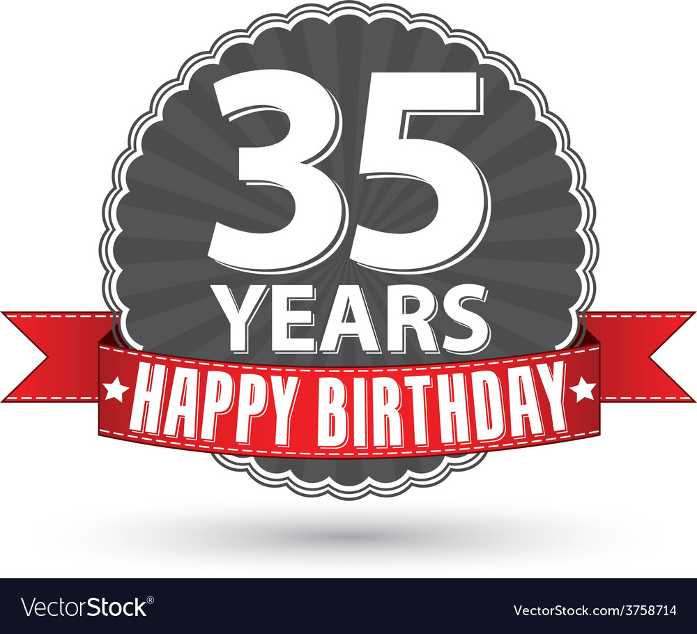 Happy birthday 35 years retro label with red vector | Price: 1 Credit (USD $1)