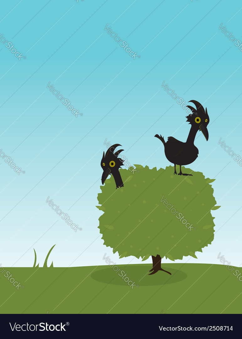 Two birds in a bush vector | Price: 1 Credit (USD $1)