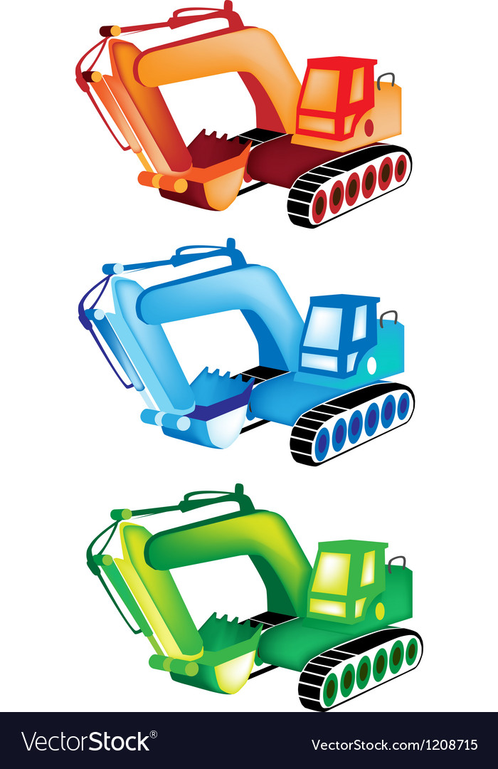 A colorful set of excavator icons vector | Price: 1 Credit (USD $1)