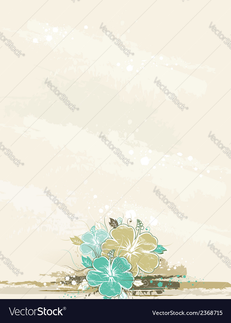 Bouquet of hibiscus on beige background vector | Price: 1 Credit (USD $1)