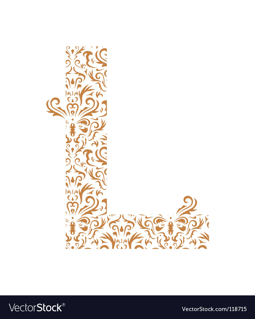 Floral letter l ornament font vector | Price: 1 Credit (USD $1)