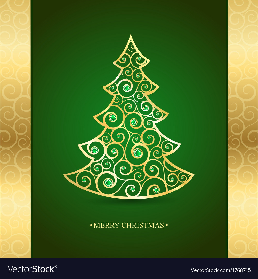 Gold christmas tree on a green background vector | Price: 1 Credit (USD $1)