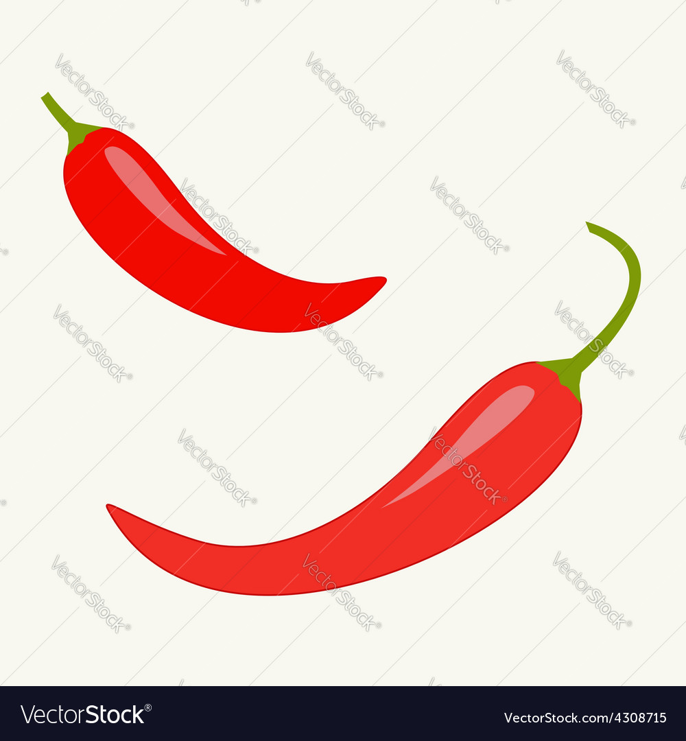 Hot red chili jalapeno pepper icon set isolated vector | Price: 1 Credit (USD $1)
