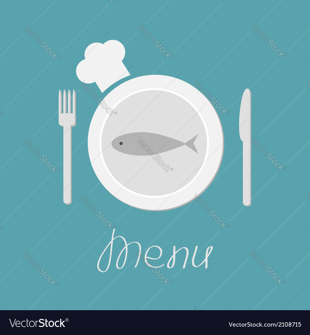 Plate with fish fork knife and chefs hat menu card vector | Price: 1 Credit (USD $1)