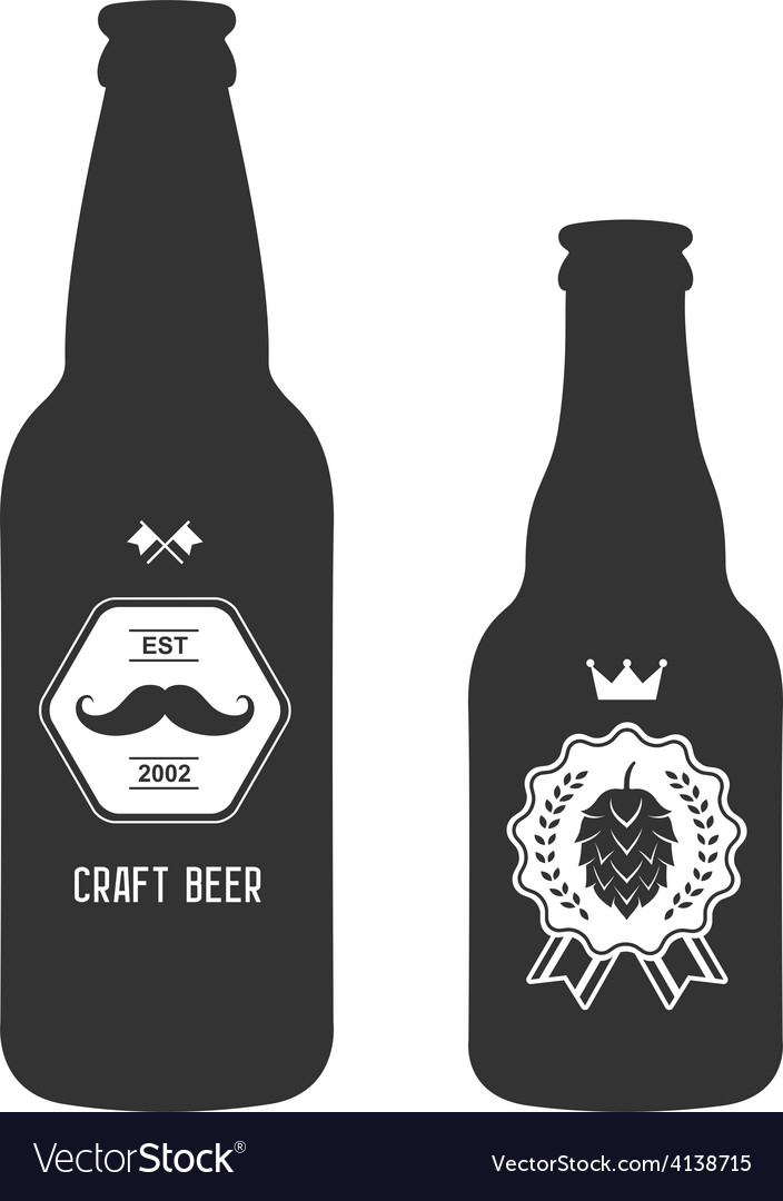 Set of vintage craft beer bottles brewery badges vector | Price: 1 Credit (USD $1)