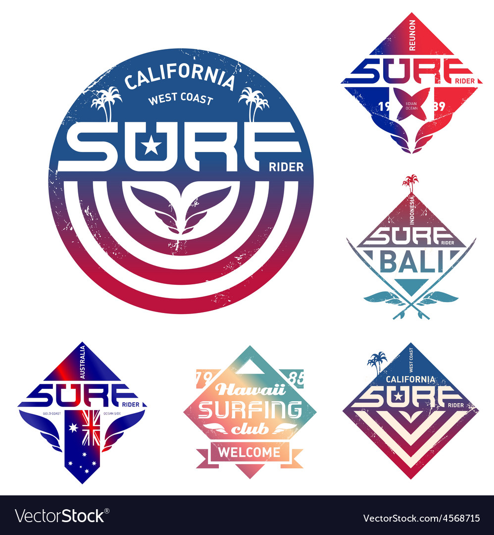 Set of vintage surfing logo with gradients design vector | Price: 1 Credit (USD $1)