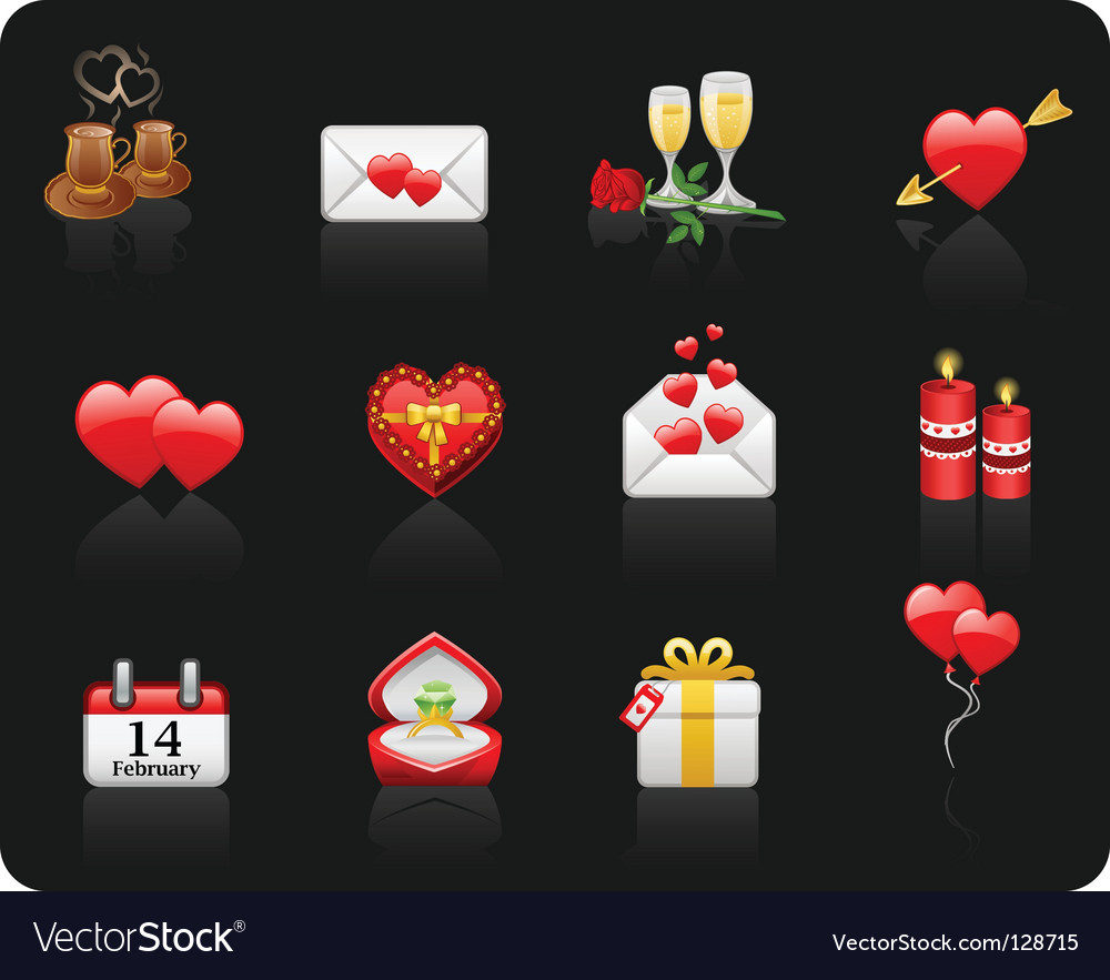 Valentine day black background vector | Price: 1 Credit (USD $1)