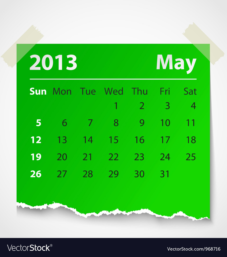 2013 calendar may colorful torn paper vector | Price: 1 Credit (USD $1)