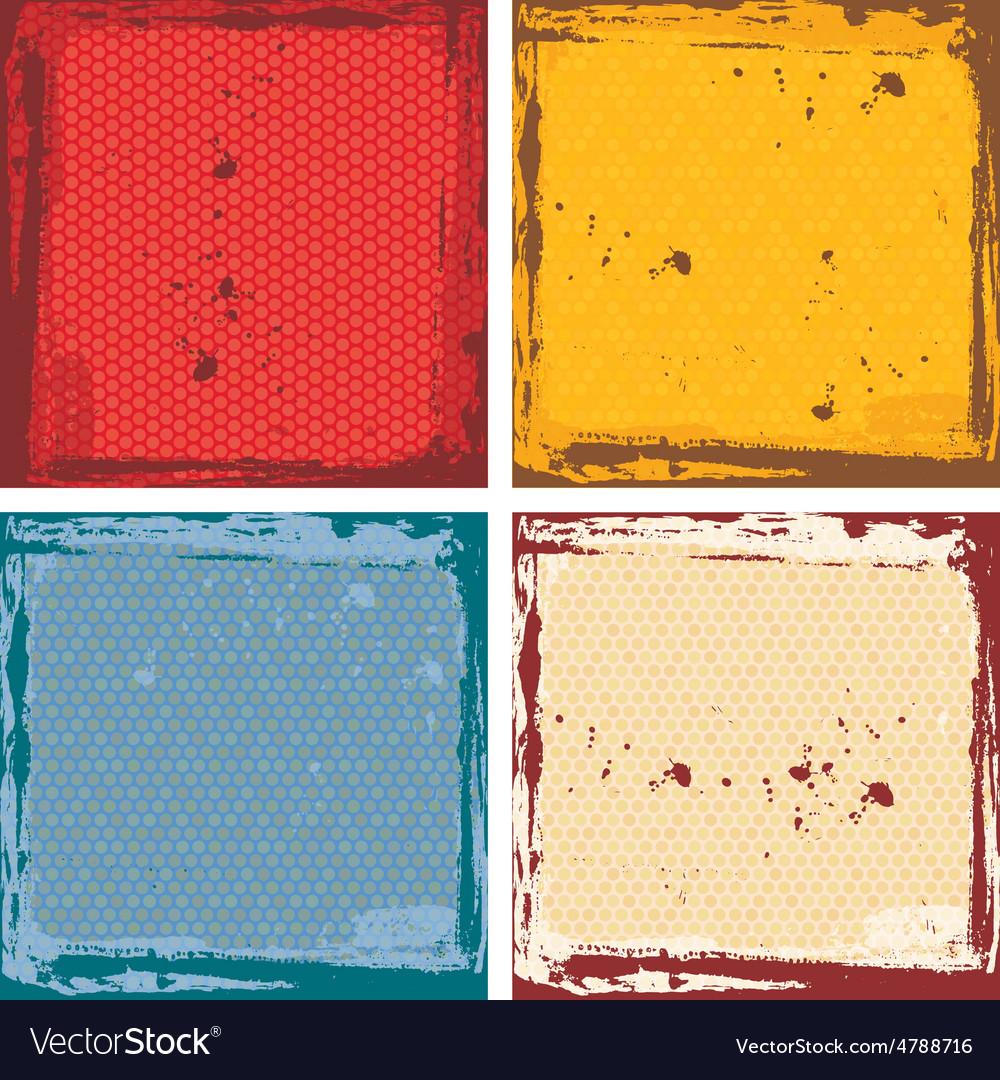 Abstract grunge frame set red orange blue beige vector | Price: 1 Credit (USD $1)