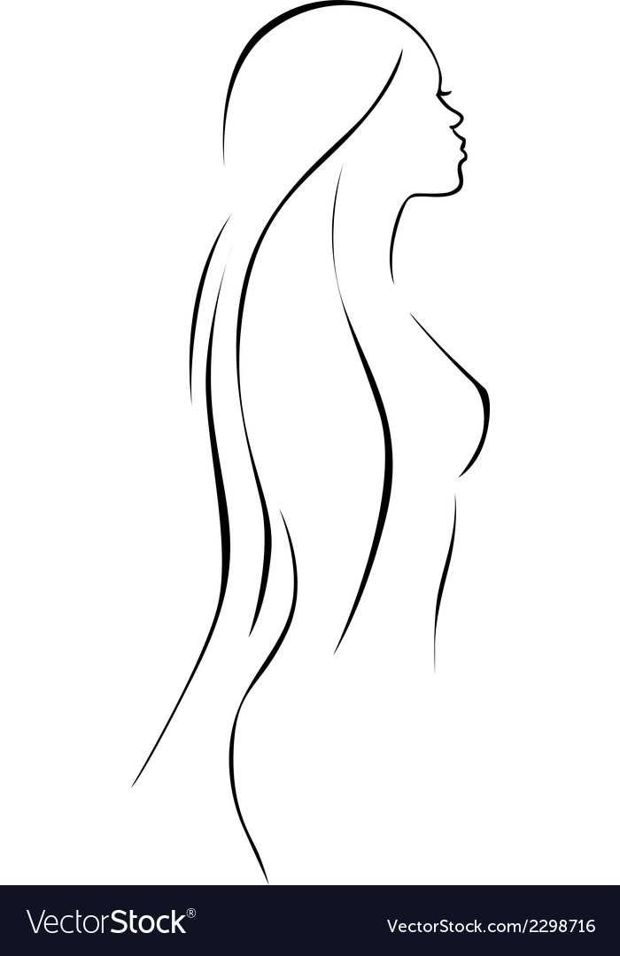 Beautiful woman - black line drawing vector | Price: 1 Credit (USD $1)