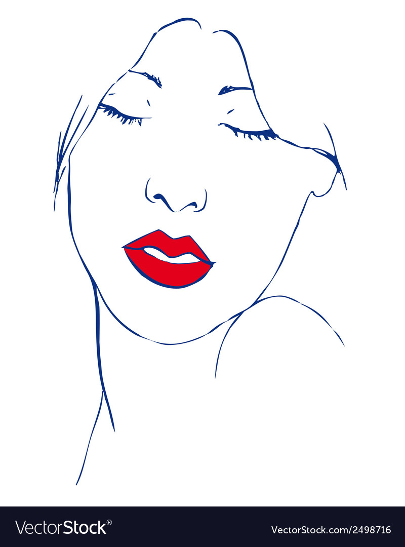 Beautiful young woman with closed eyes and red vector | Price: 1 Credit (USD $1)