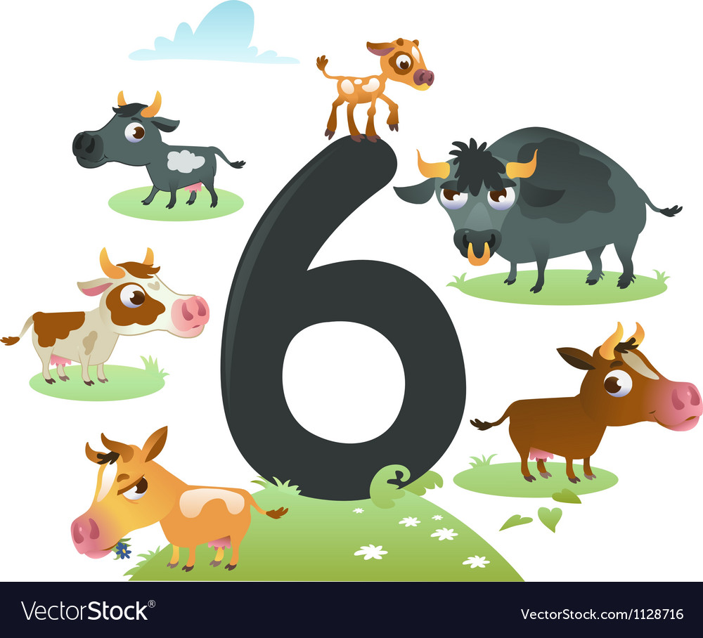 Collection number for kids farm animals - number 6 vector | Price: 1 Credit (USD $1)