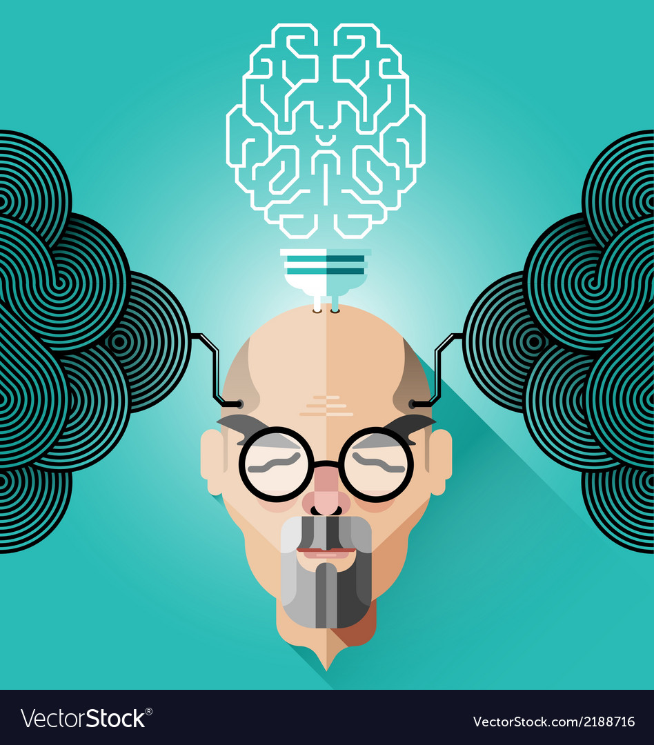 Creative thinking old business man concept vector | Price: 1 Credit (USD $1)