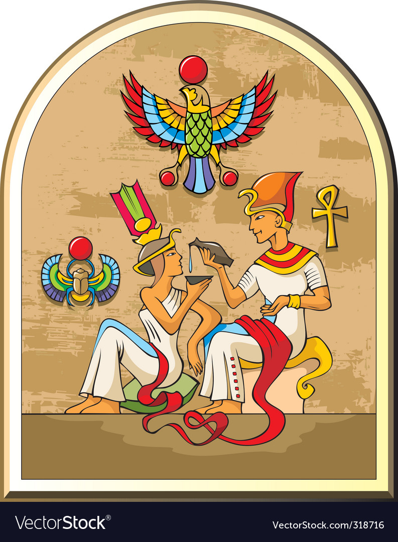Egyptian pharaoh and his wife vector | Price: 3 Credit (USD $3)
