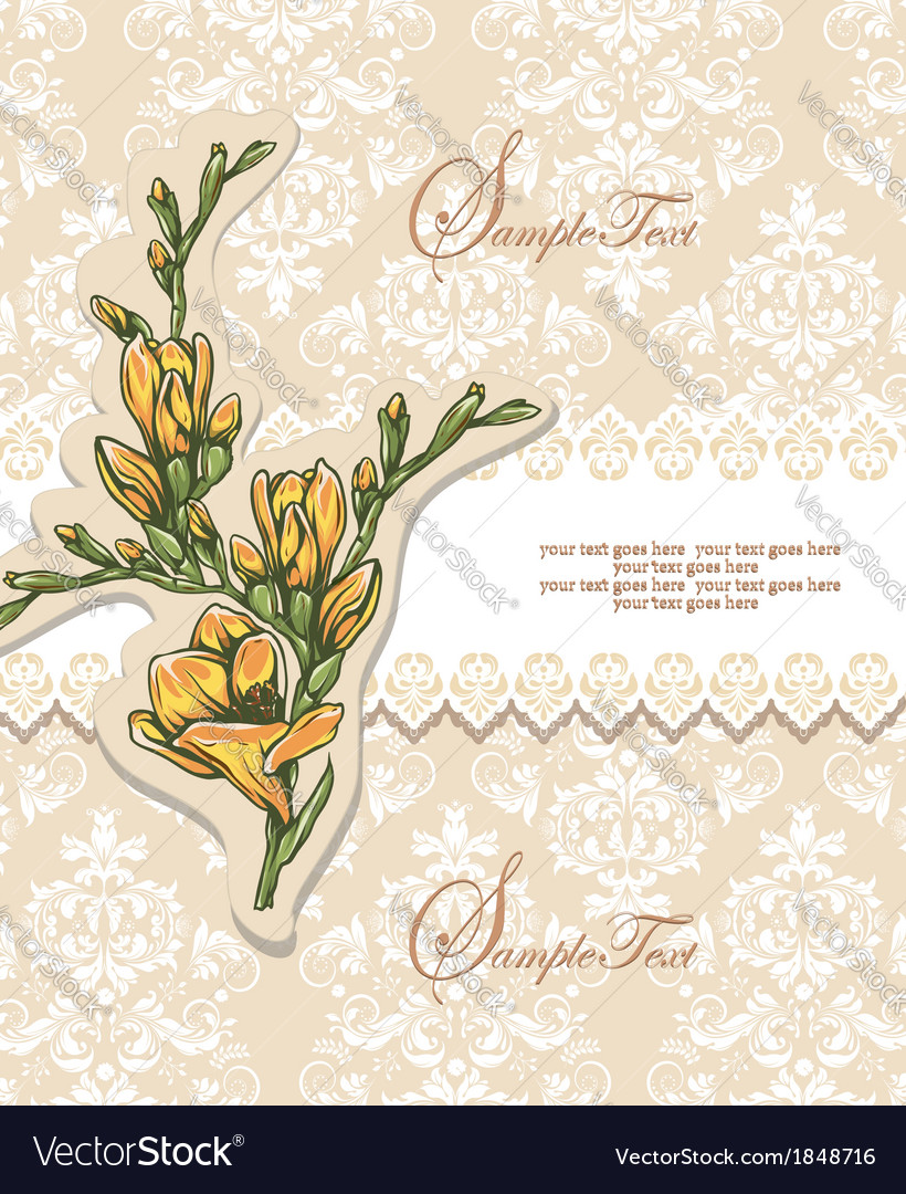 Elegant floral invitation card vector | Price: 1 Credit (USD $1)