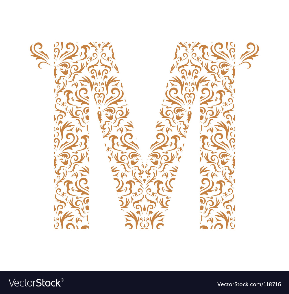 Floral letter m ornament font vector | Price: 1 Credit (USD $1)