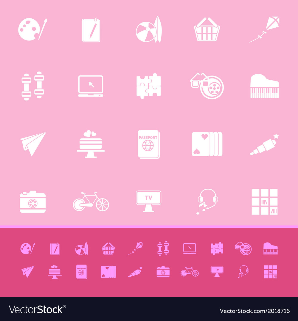 Hobby color icons on pink background vector   Price: 1 Credit (USD $1)