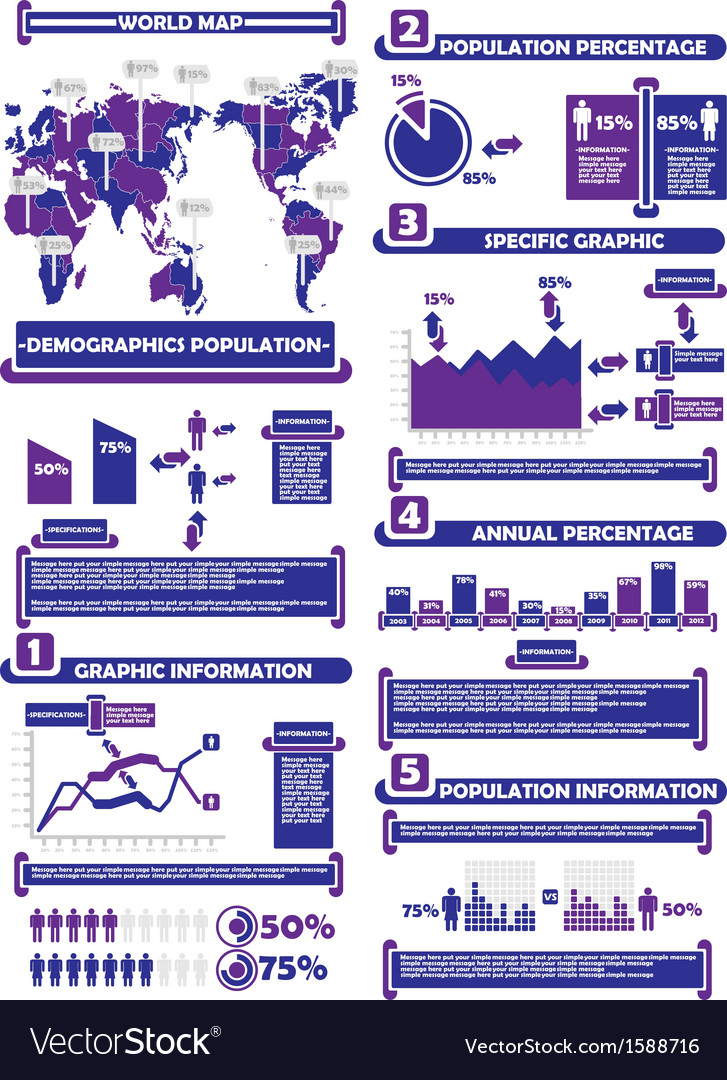 Infographic demograp world percentage purple vector | Price: 1 Credit (USD $1)