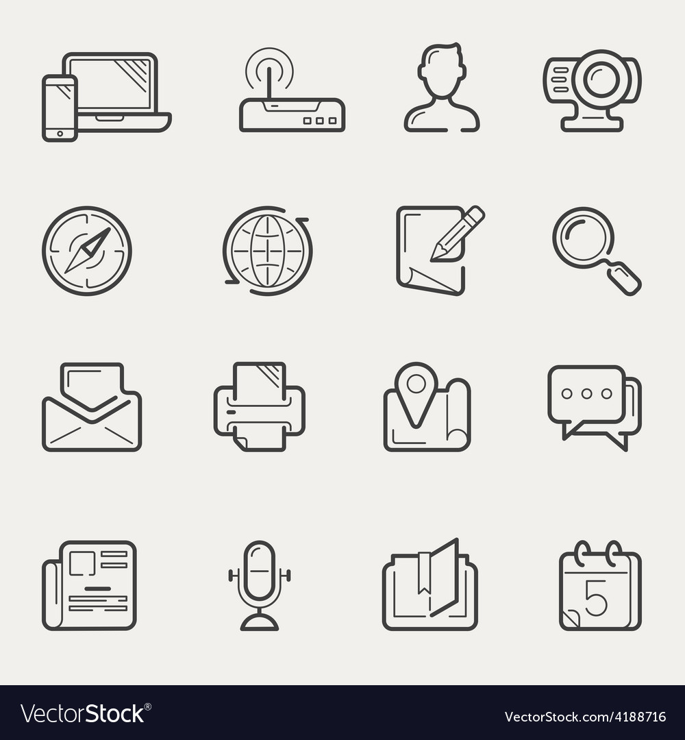 Internet communication and social media line icons vector | Price: 1 Credit (USD $1)