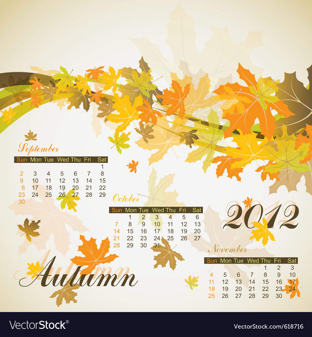 Maple autumn calendar 2012 vector | Price: 1 Credit (USD $1)