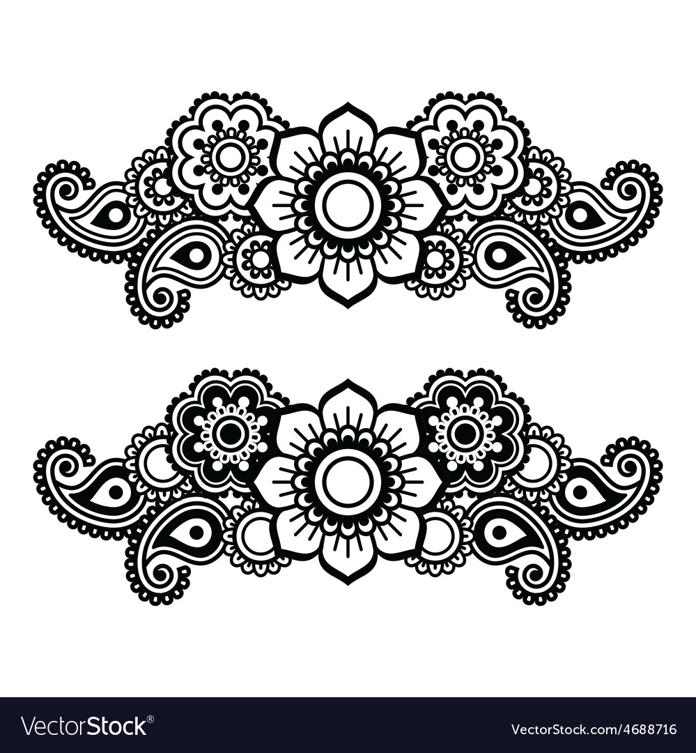 Mehndi indian henna tattoo pattern or background vector | Price: 1 Credit (USD $1)