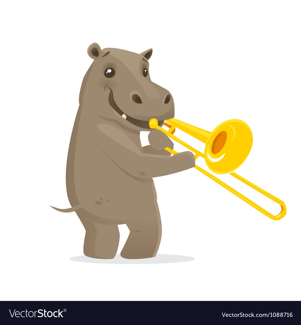 Musical animals hippo trombone vector | Price: 1 Credit (USD $1)