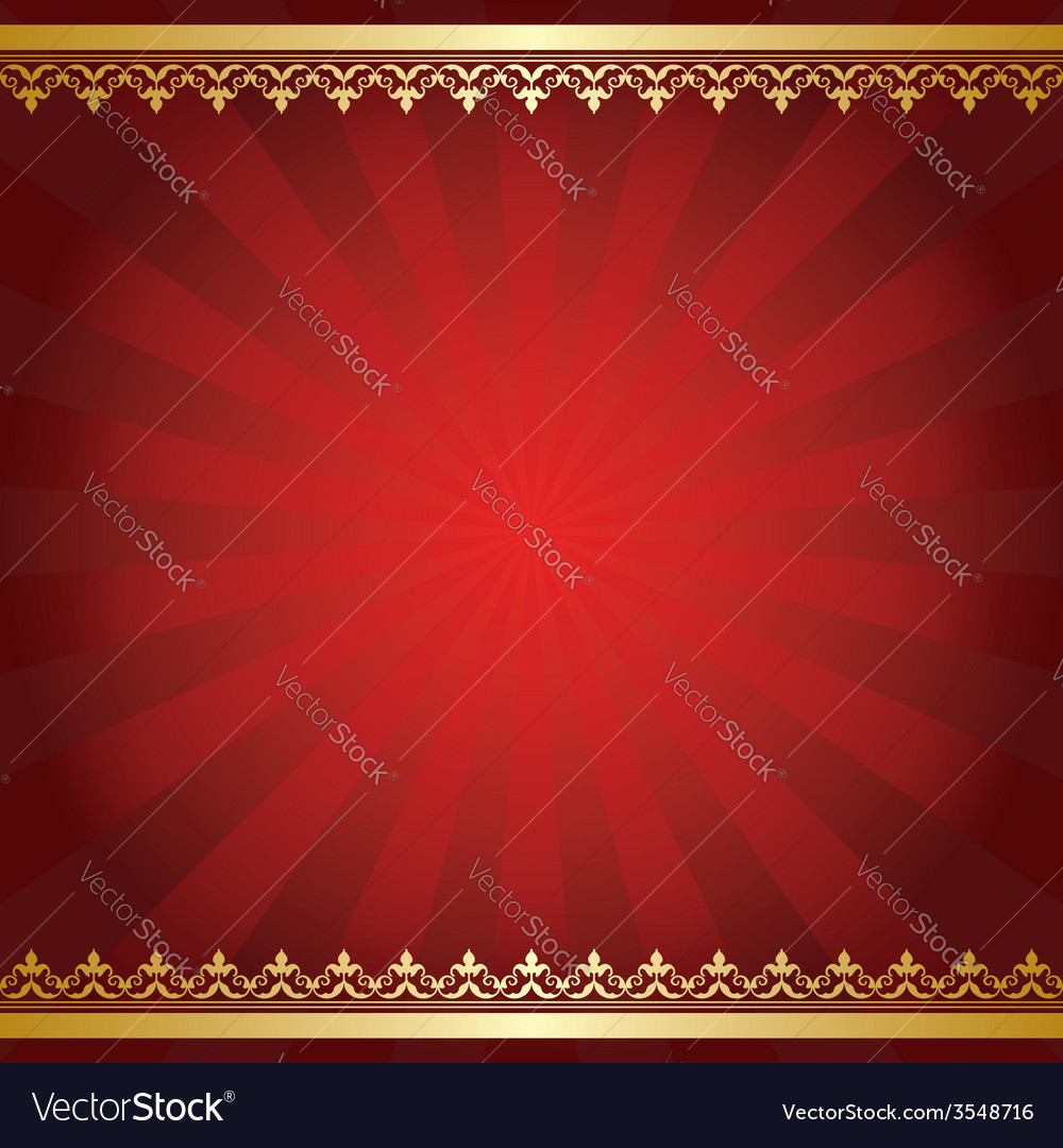 Red background with rays and golden ornament vector | Price: 1 Credit (USD $1)
