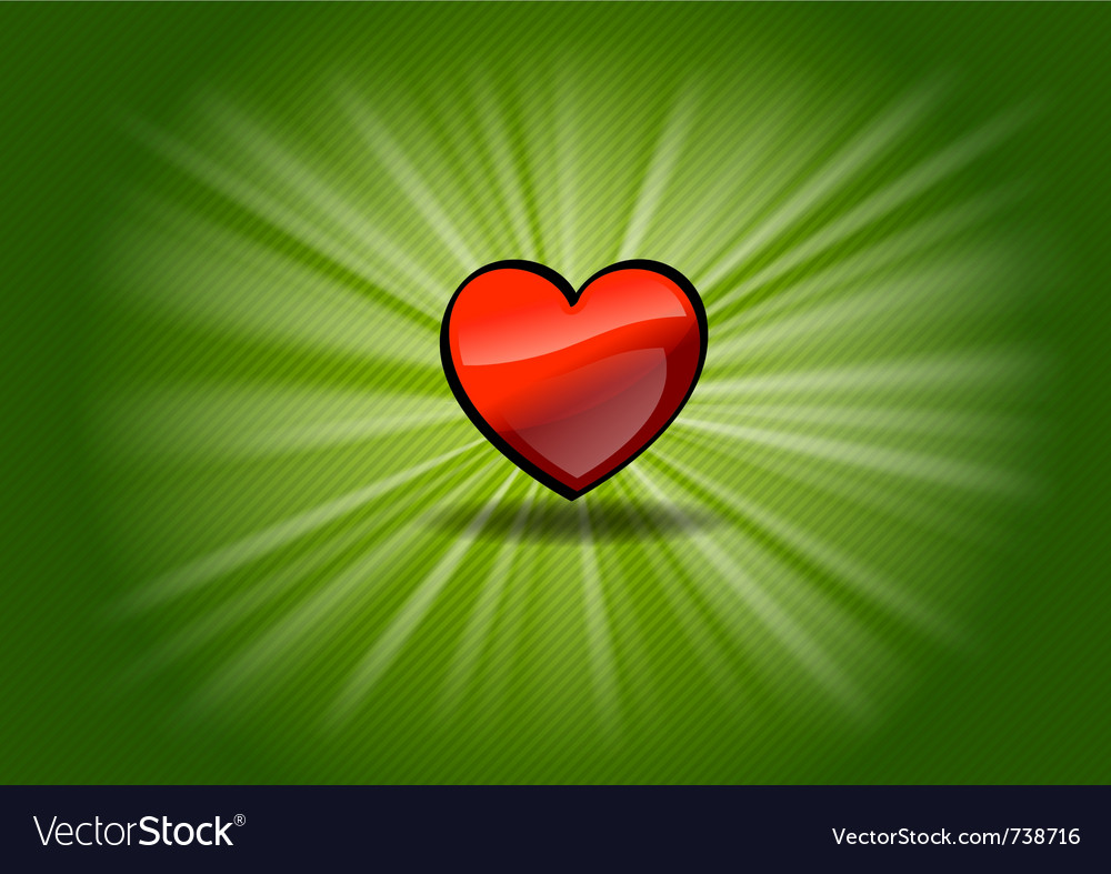 Red shining heart on the green background vector | Price: 1 Credit (USD $1)