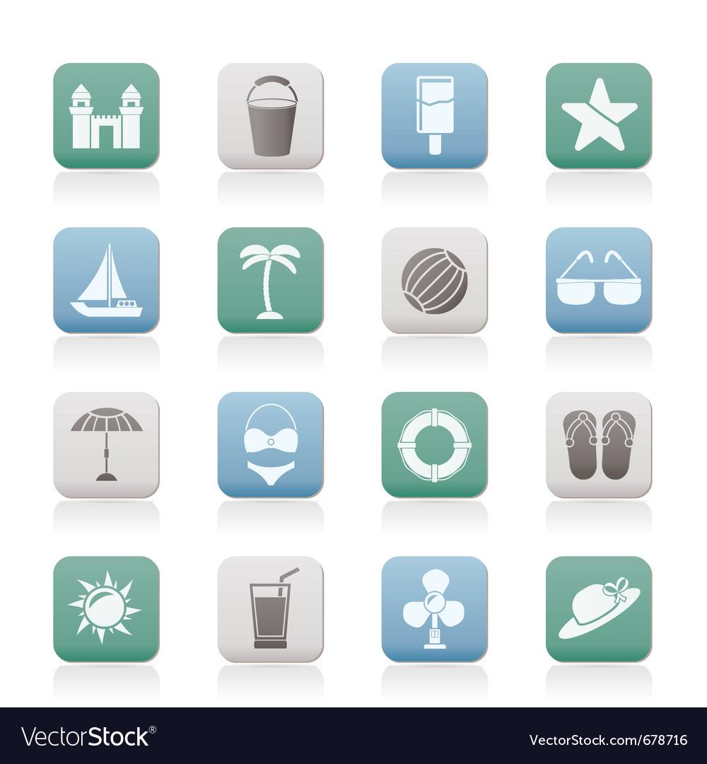Sea and holiday icons vector | Price: 1 Credit (USD $1)