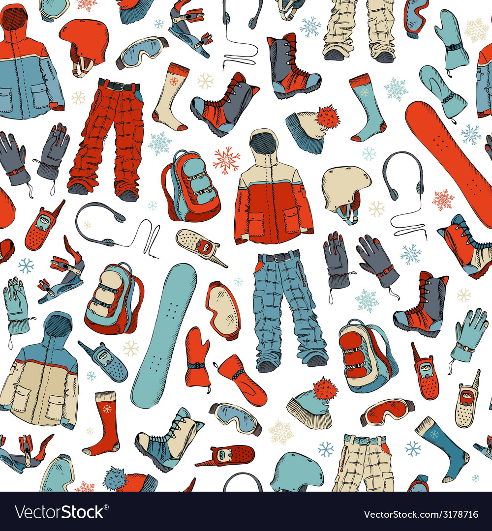 Seamless pattern of snowboard kit on white vector | Price: 1 Credit (USD $1)