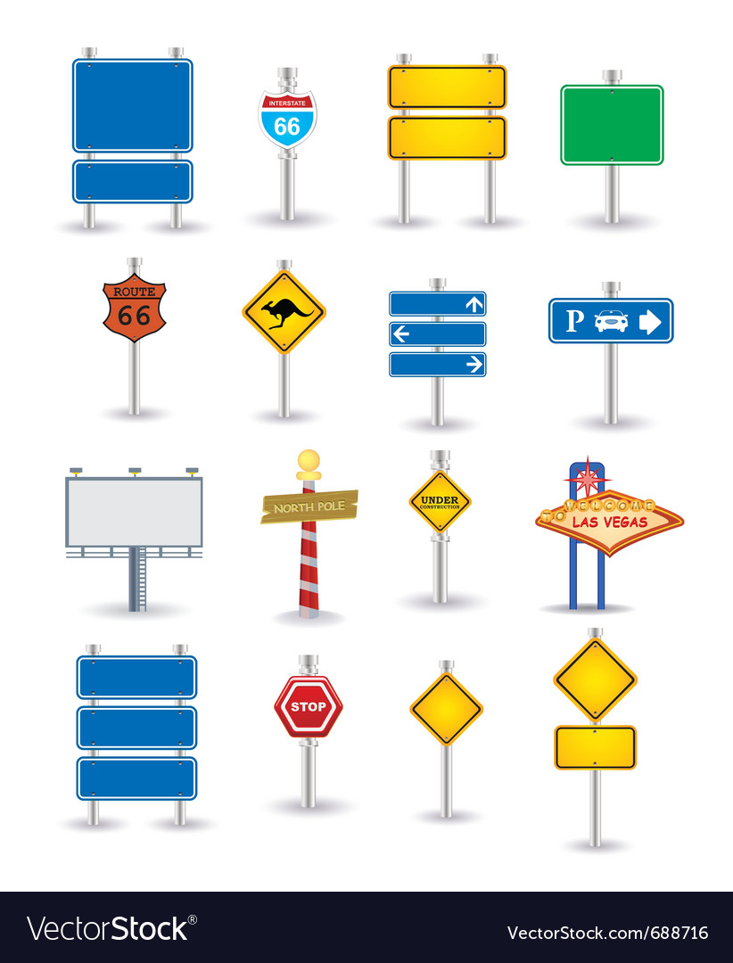 Set of road sign vector | Price: 1 Credit (USD $1)