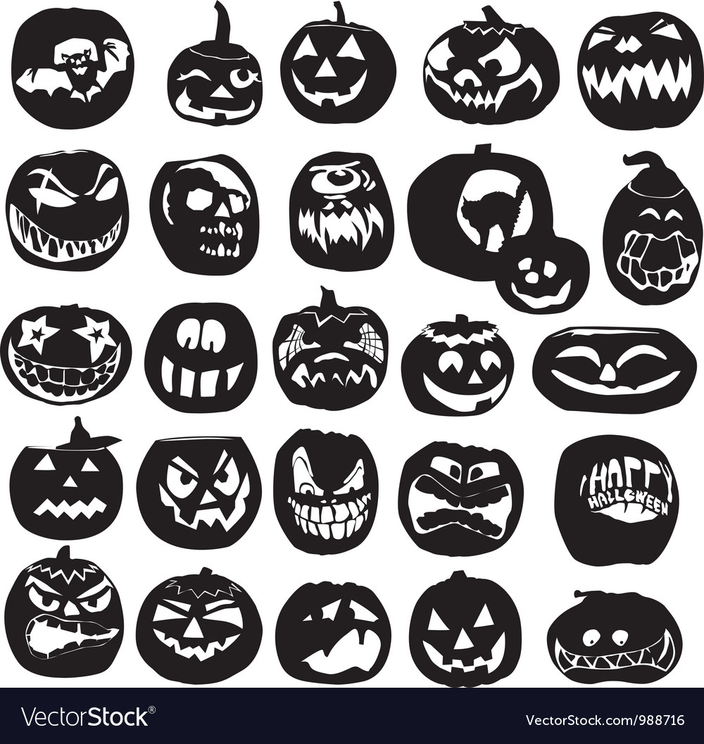 Silhouettes of halloween pumpkin vector | Price: 1 Credit (USD $1)