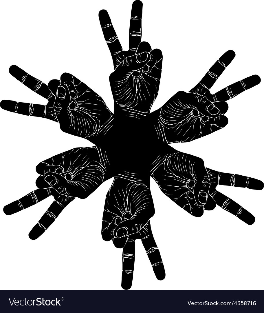 Six victory hands abstract symbol black and white vector | Price: 1 Credit (USD $1)