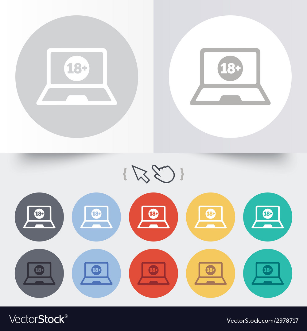 Adults content laptop icon website for adults vector | Price: 1 Credit (USD $1)