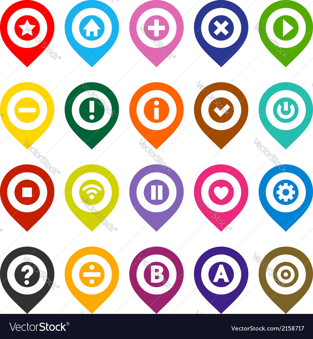 Map pins color set vector | Price: 1 Credit (USD $1)