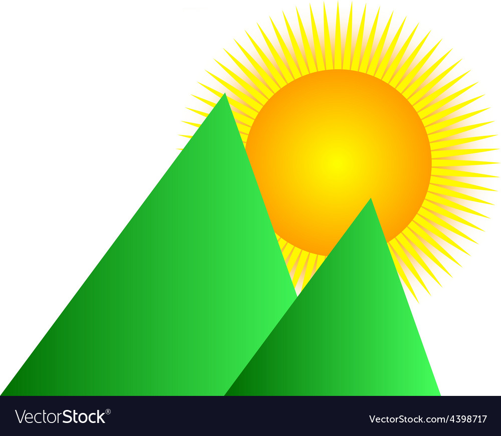 Mountain sunrise logo vector | Price: 3 Credit (USD $3)