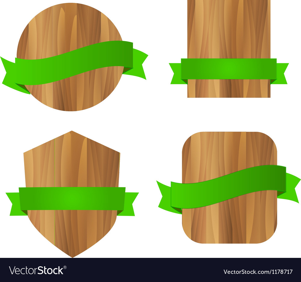 Nature eco green wooden labels vector | Price: 1 Credit (USD $1)