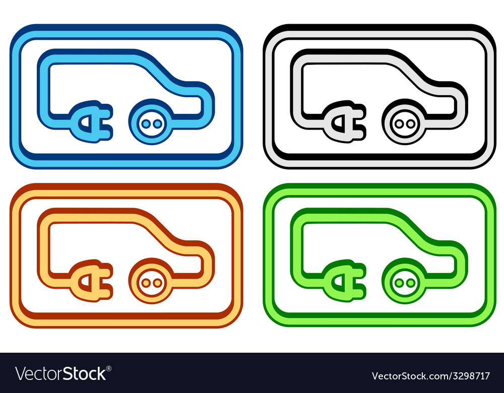 Set electric car icon vector | Price: 1 Credit (USD $1)